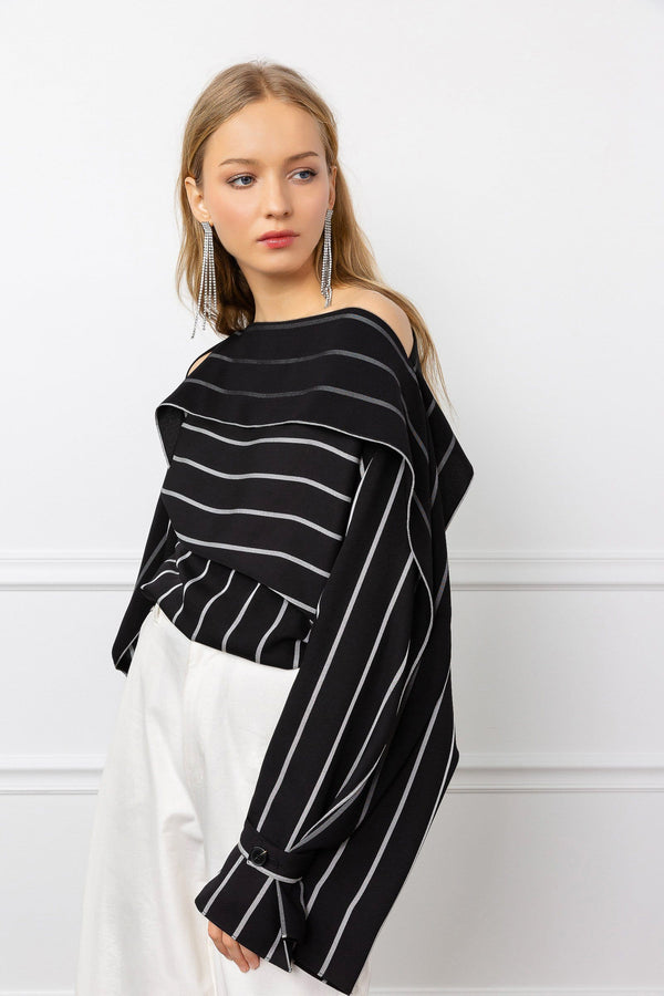 Black long sleeve women's top with stripes and cropped cut by J.ING women's tops