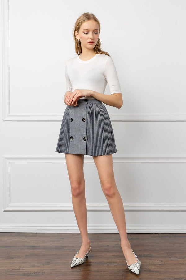 Grey Accordion Pleated Mini Skirt | J.ING Women's Apparel