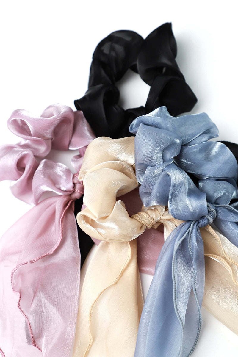 Periwinkle Sheer Bow Scrunchie