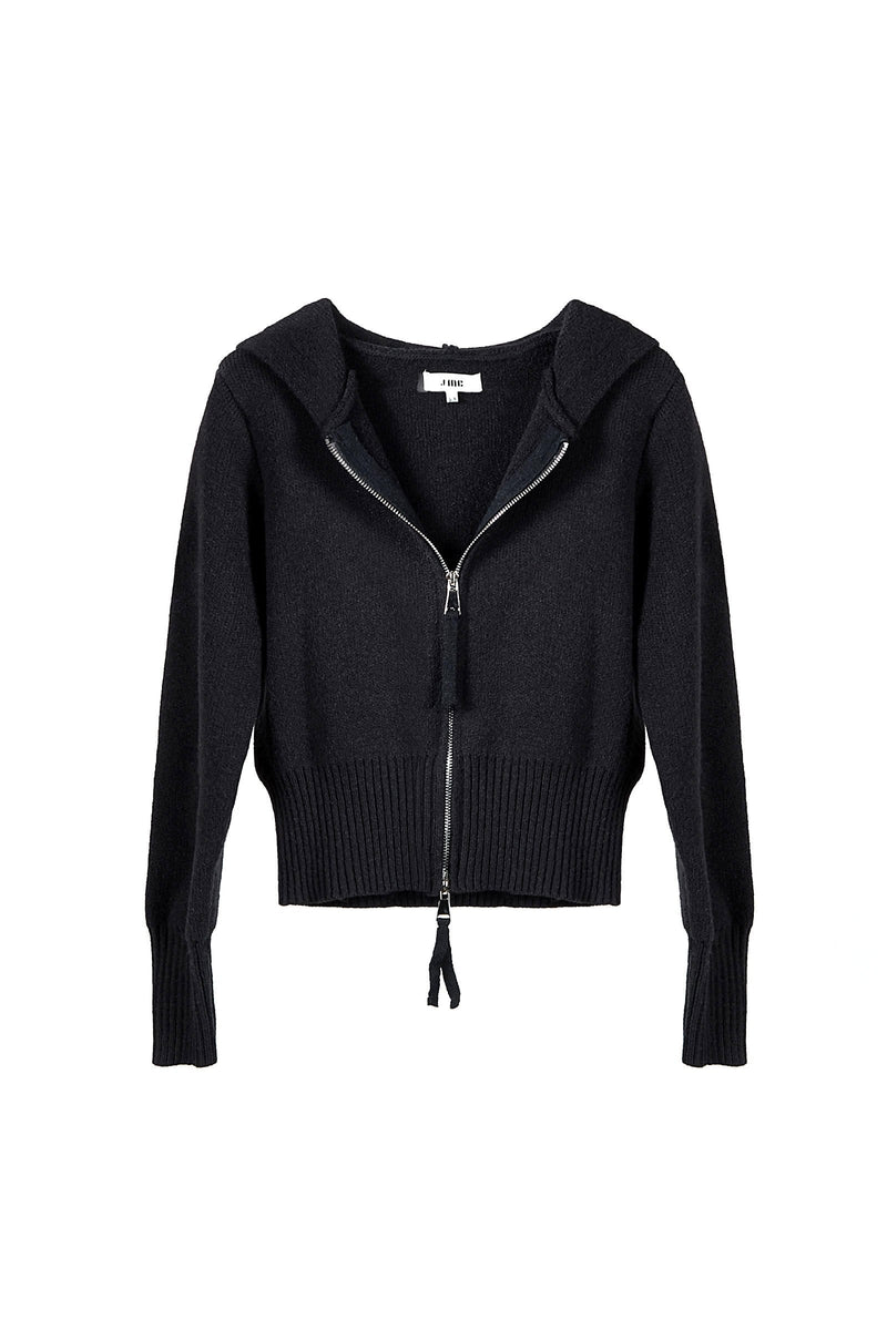 Zip Black Knit Cardigan