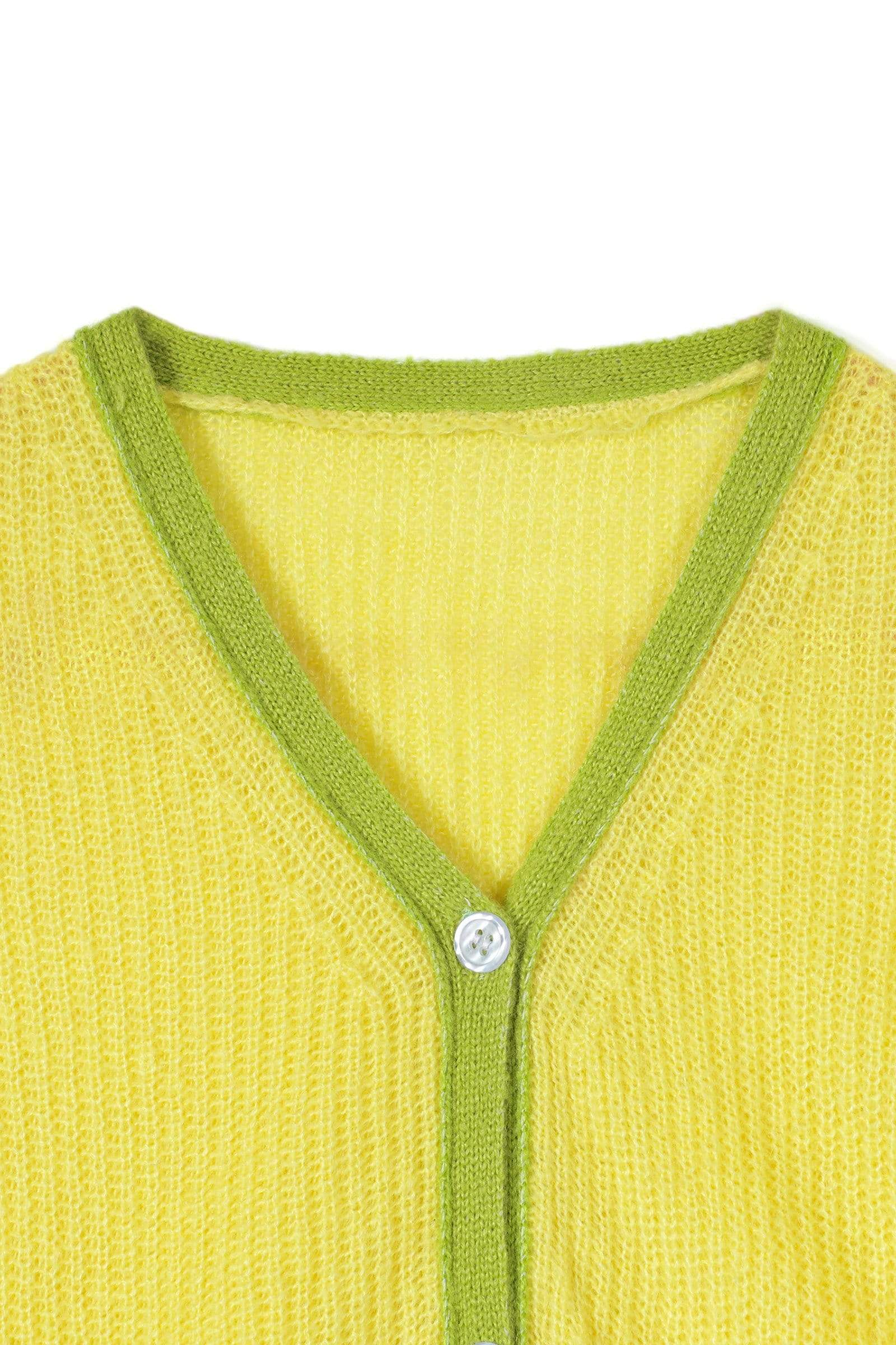 Crop Lime Contrast Cardigan
