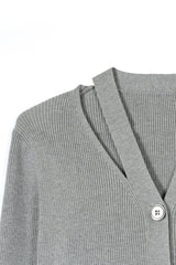 Grey Button-Up Cardigan