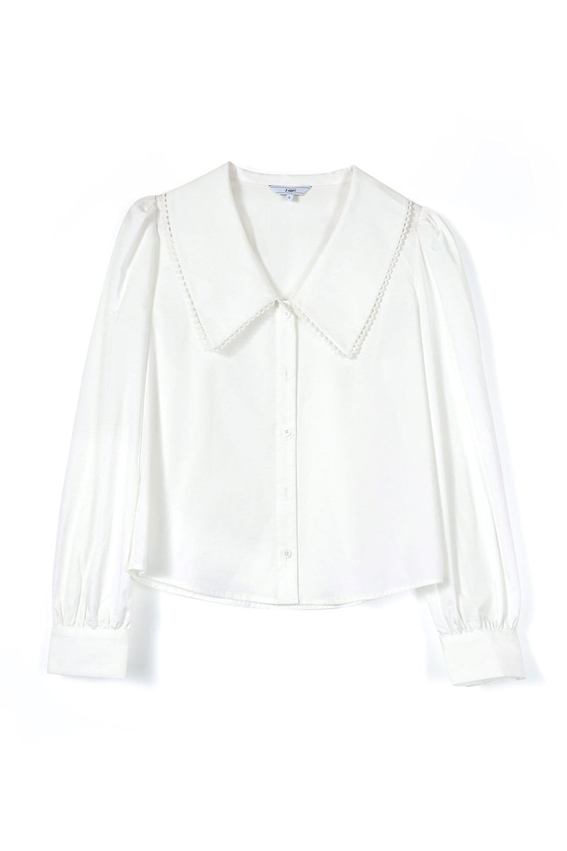 Poplin White Collar Blouse