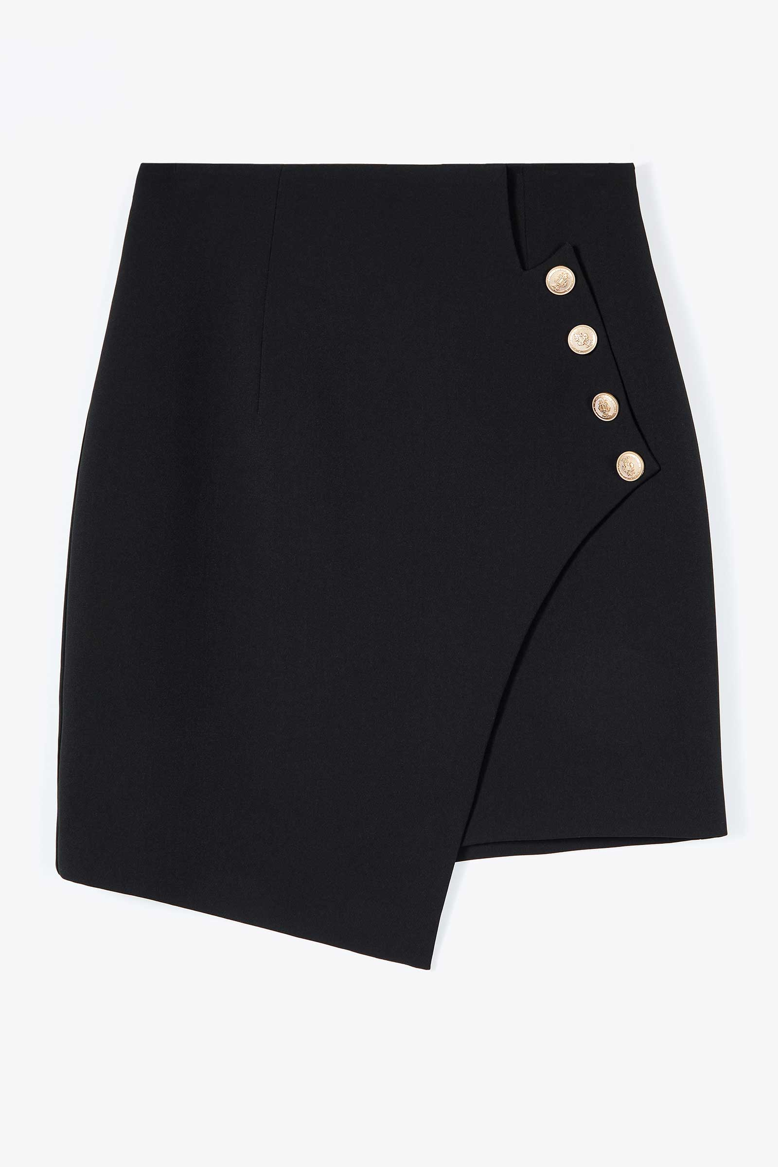 Valerie Black Asymmetrical Button Skirt