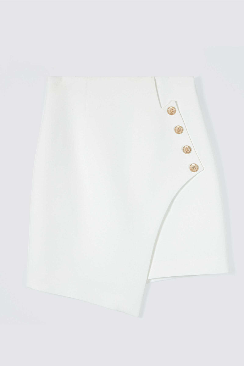 Valerie Ivory Asymmetrical Button Skirt