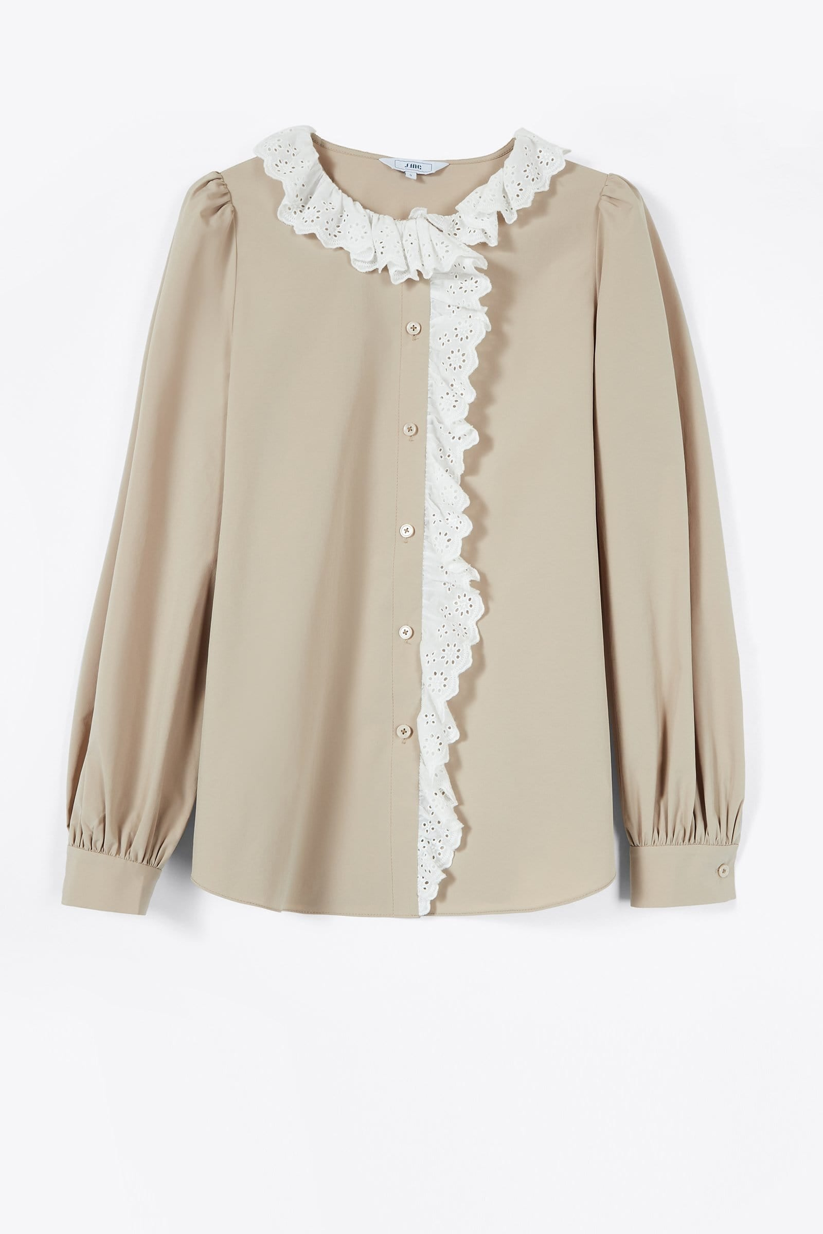 Maeve Tan Frilly Shirt