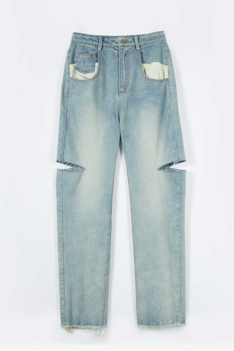 Double Distressed Jeans