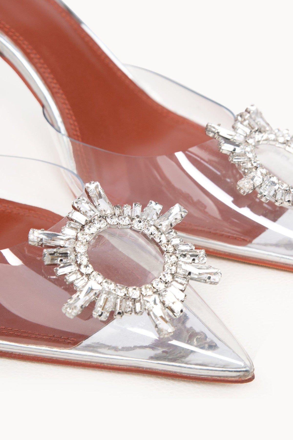 Laura Clear Silver Toed Heels