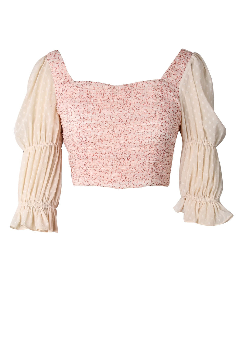Poppy Dainty Puff Sleeve Crop Top
