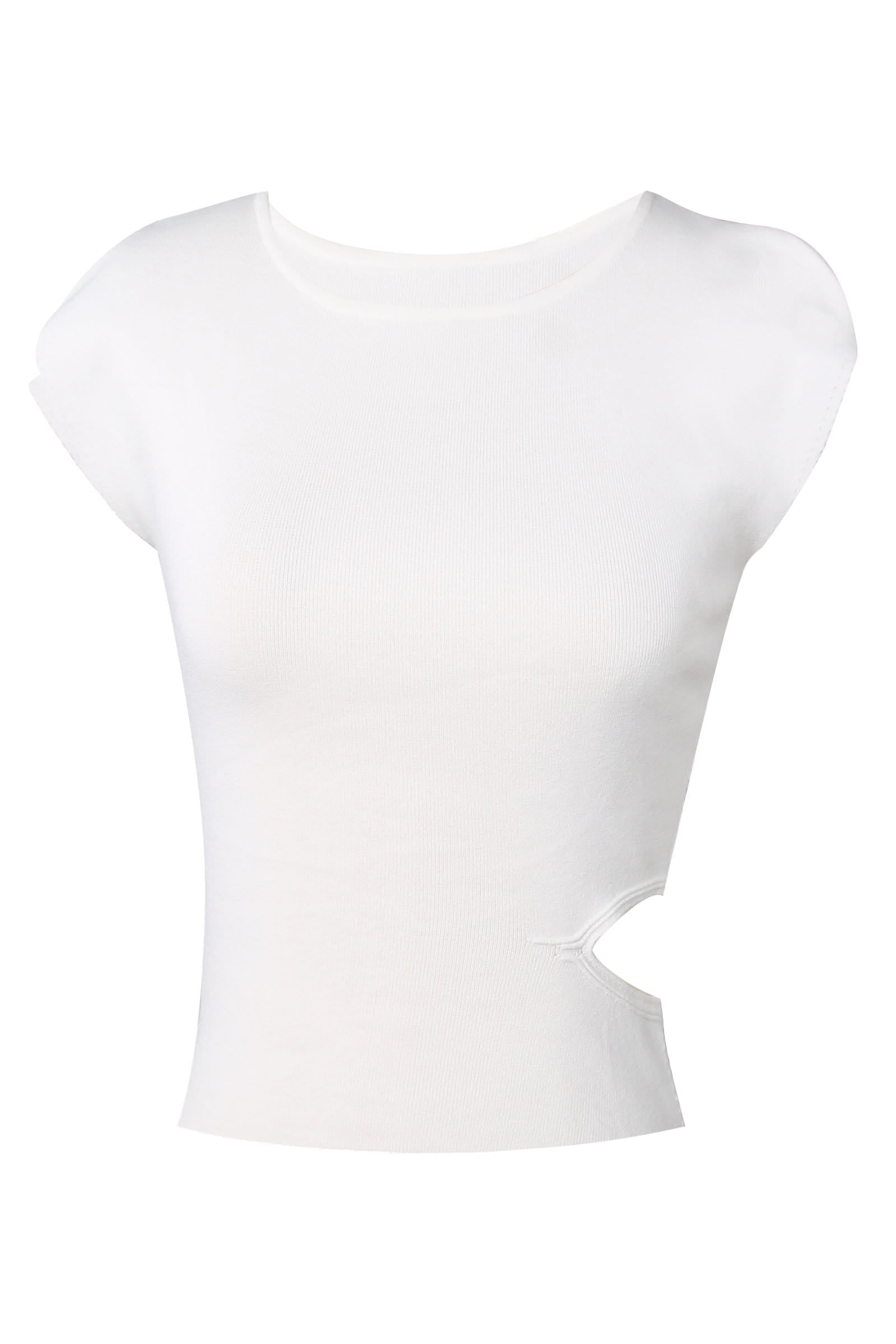 Callie White Cutout Basic Tee