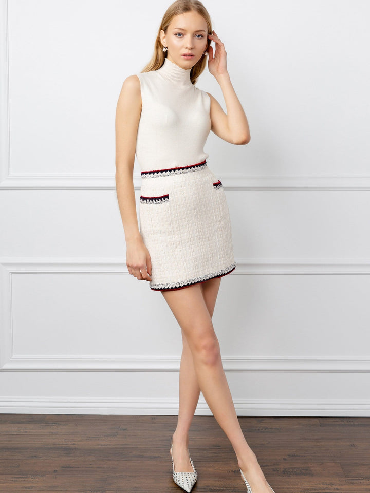 Margot White Tweed Mini Skirt