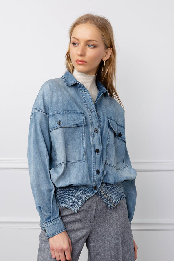 Light Blue Denim Jacket | J.ING Women's Tops