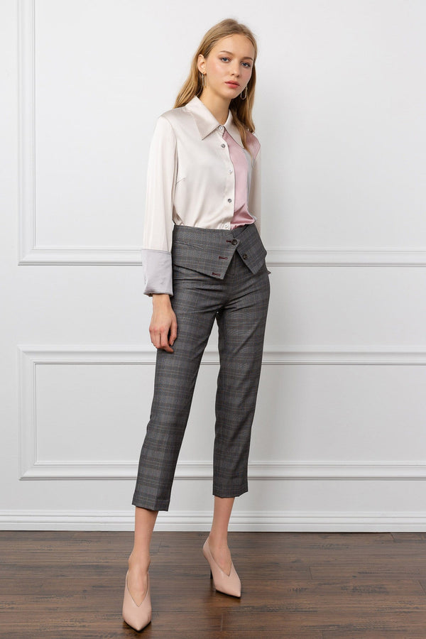 Grey Ankle Cropped Fold-Over Pants | J.ING Women's Bottoms