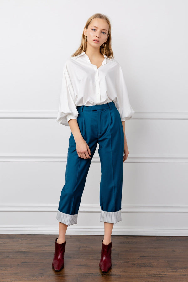 Turquoise Cropped Ankle Trousers | J.ING Women's Work Wear