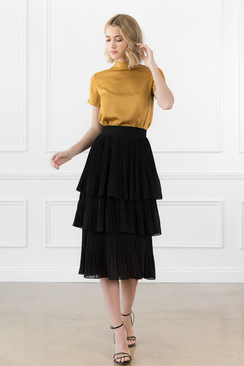 Katrina Midi Skirt Black in Skirts by J.ING - an L.A based women's fashion line