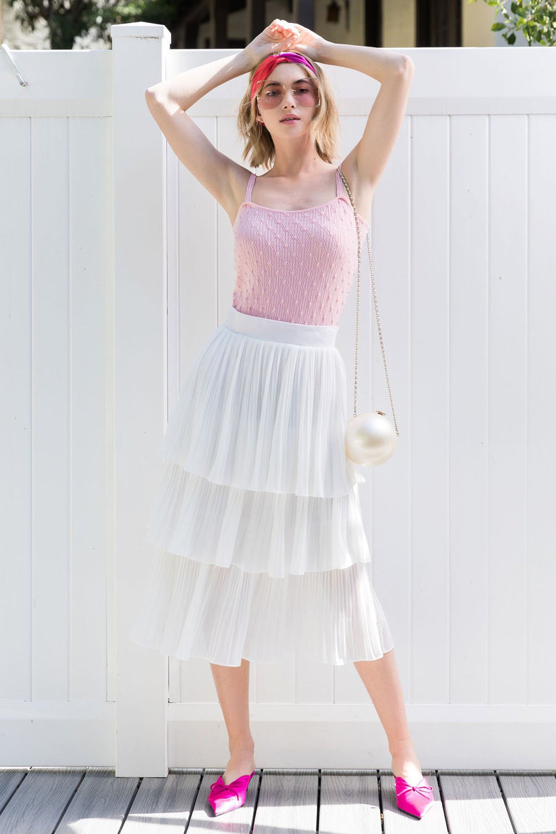 Katrina Skirt Ivory in Skirts by J.ING - an L.A based women's fashion line