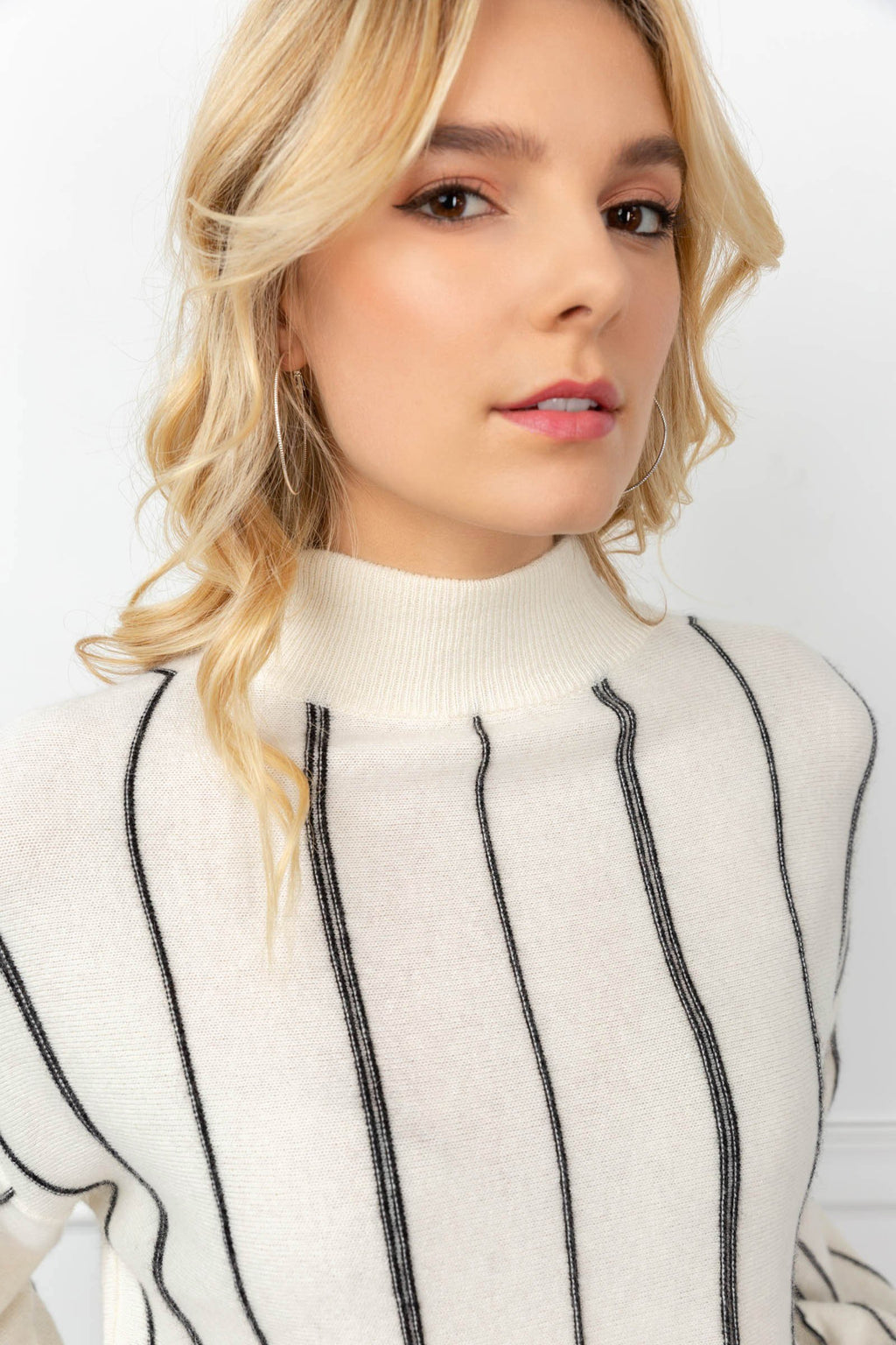 Kendra Striped Sweater White in Tops by J.ING - an L.A based women's fashion line