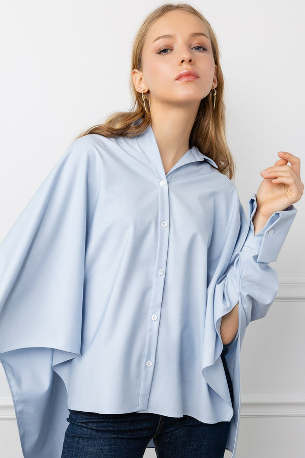 Light Blue Oversize Women's Work Shirt | J.ING Women's Work Wear & Apparel