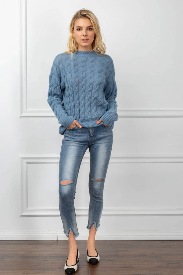 Laine Sweater Blue in Tops by J.ING - an L.A based women's fashion line