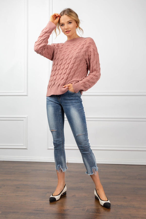 Laine Sweater Pink in Tops by J.ING - an L.A based women's fashion line