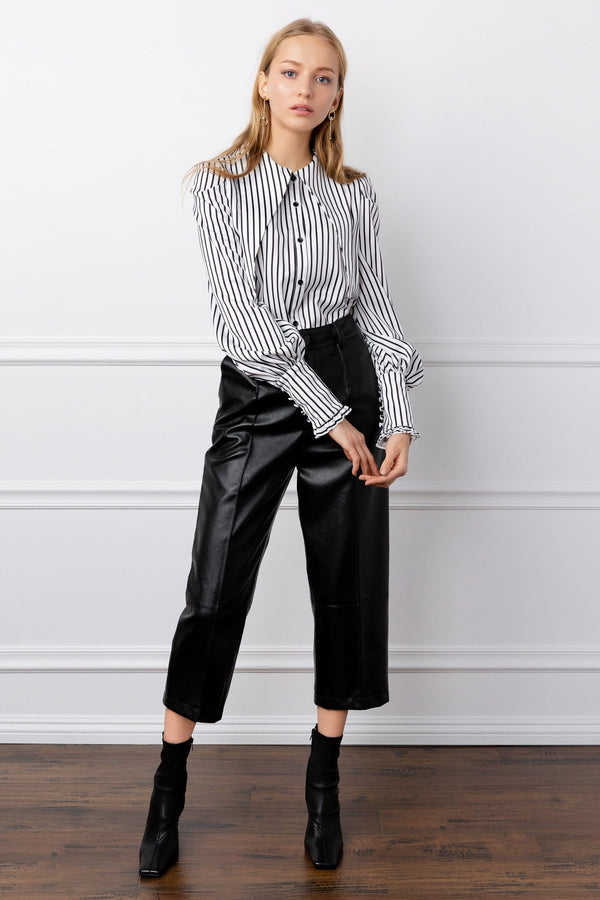 Striped Long Sleeve Blouse with Pointed Collar | J.ING Women's Fashion