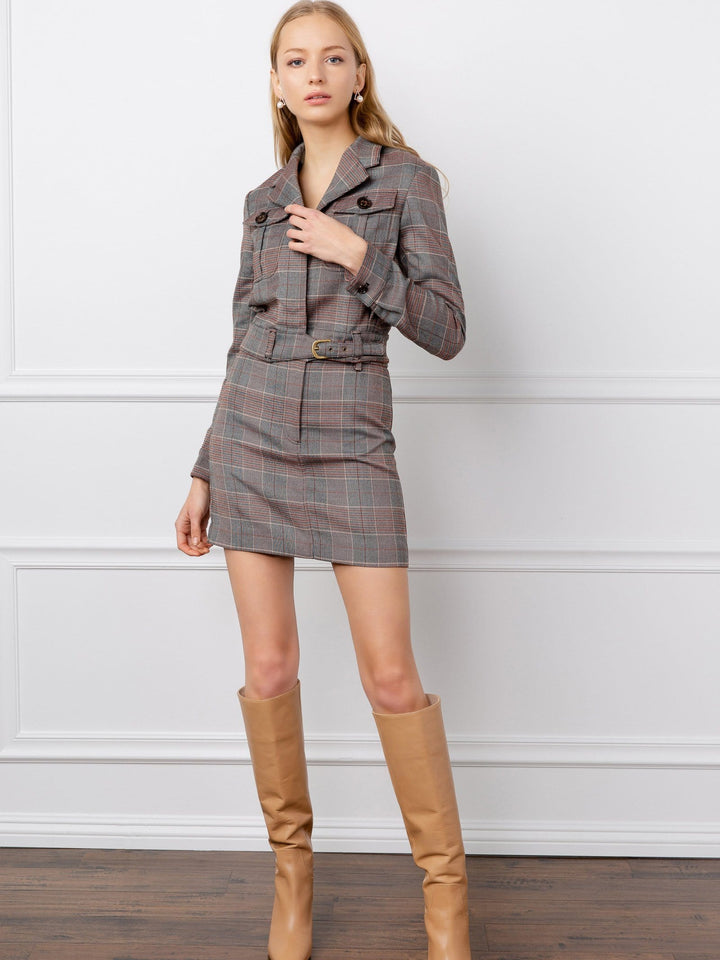 dark grey plaid cropped women's jacket by j.ing los angeles