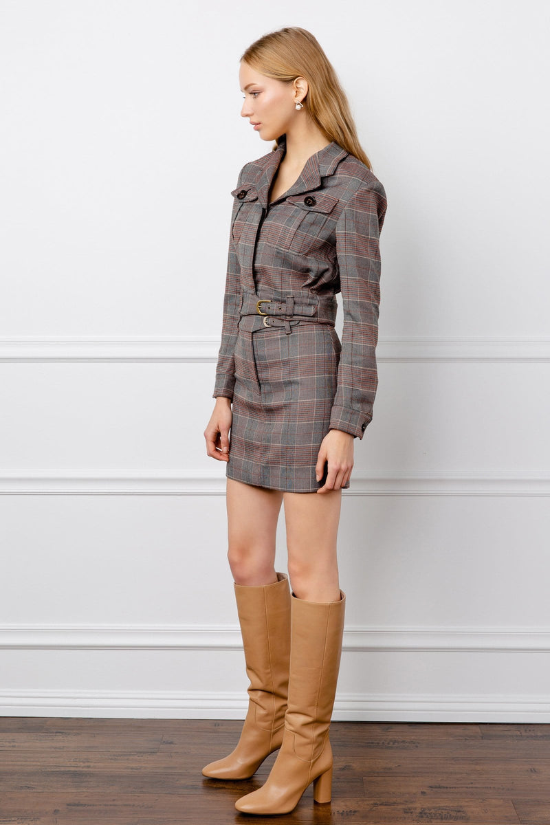 Lara Grey Plaid Jacket
