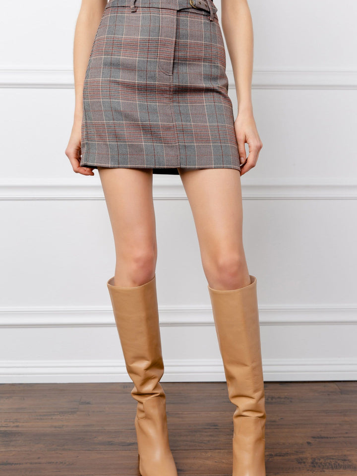Lara Grey Plaid Skirt