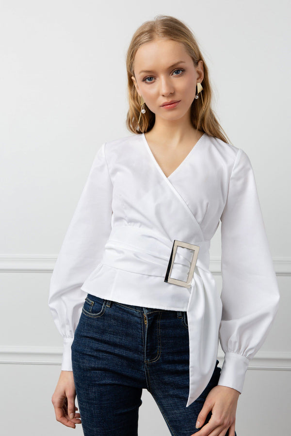 Belted White Surplice Blouse by J.ING Women's Clothing
