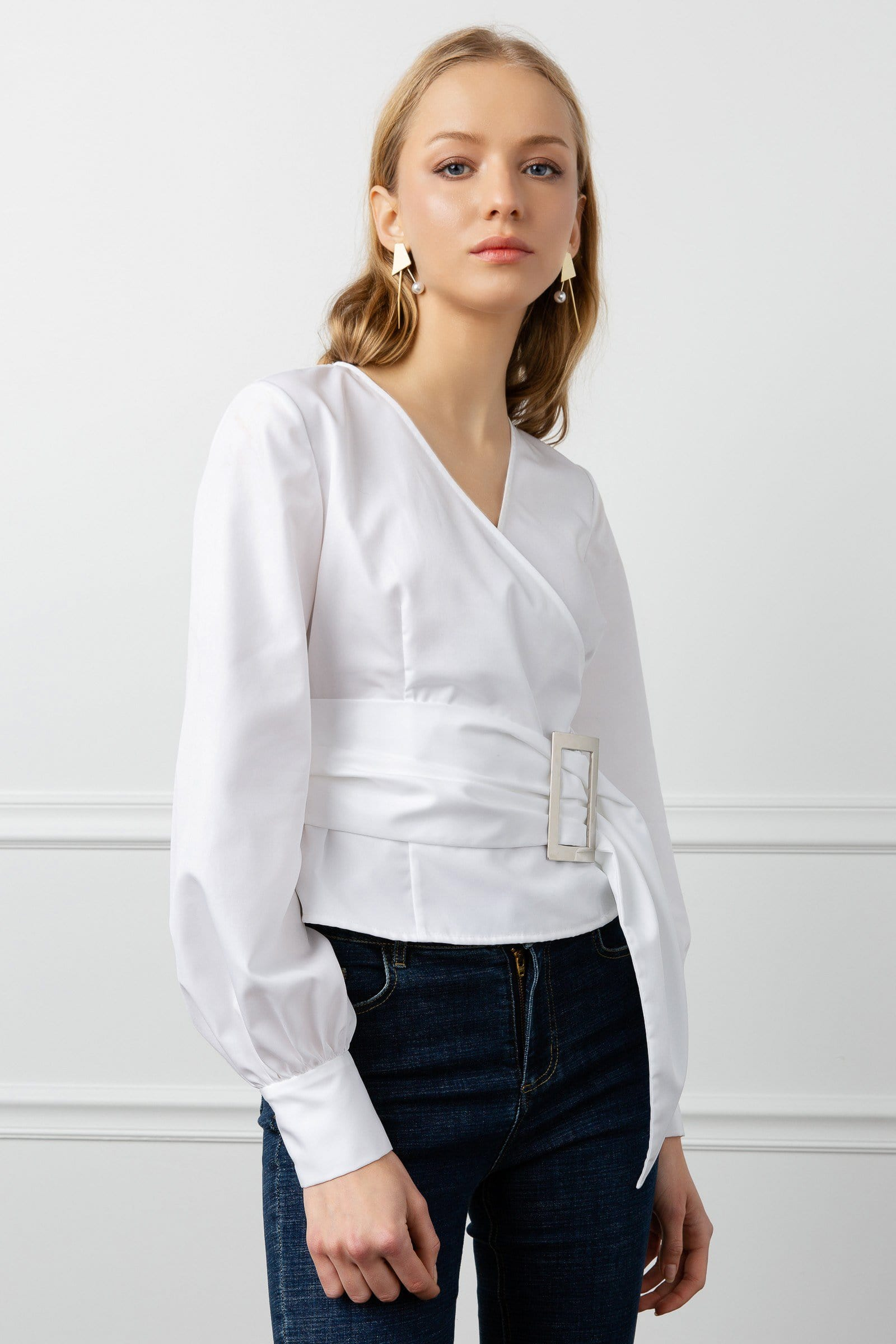 Belted White Surplice Blouse