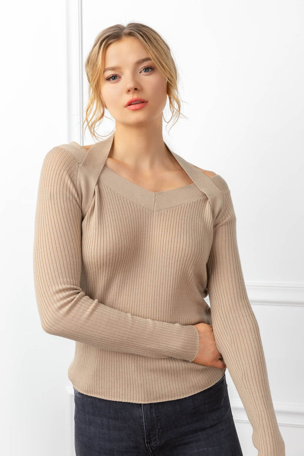 Lorelai Knit Top Tan in Tops by J.ING - an L.A based women's fashion line