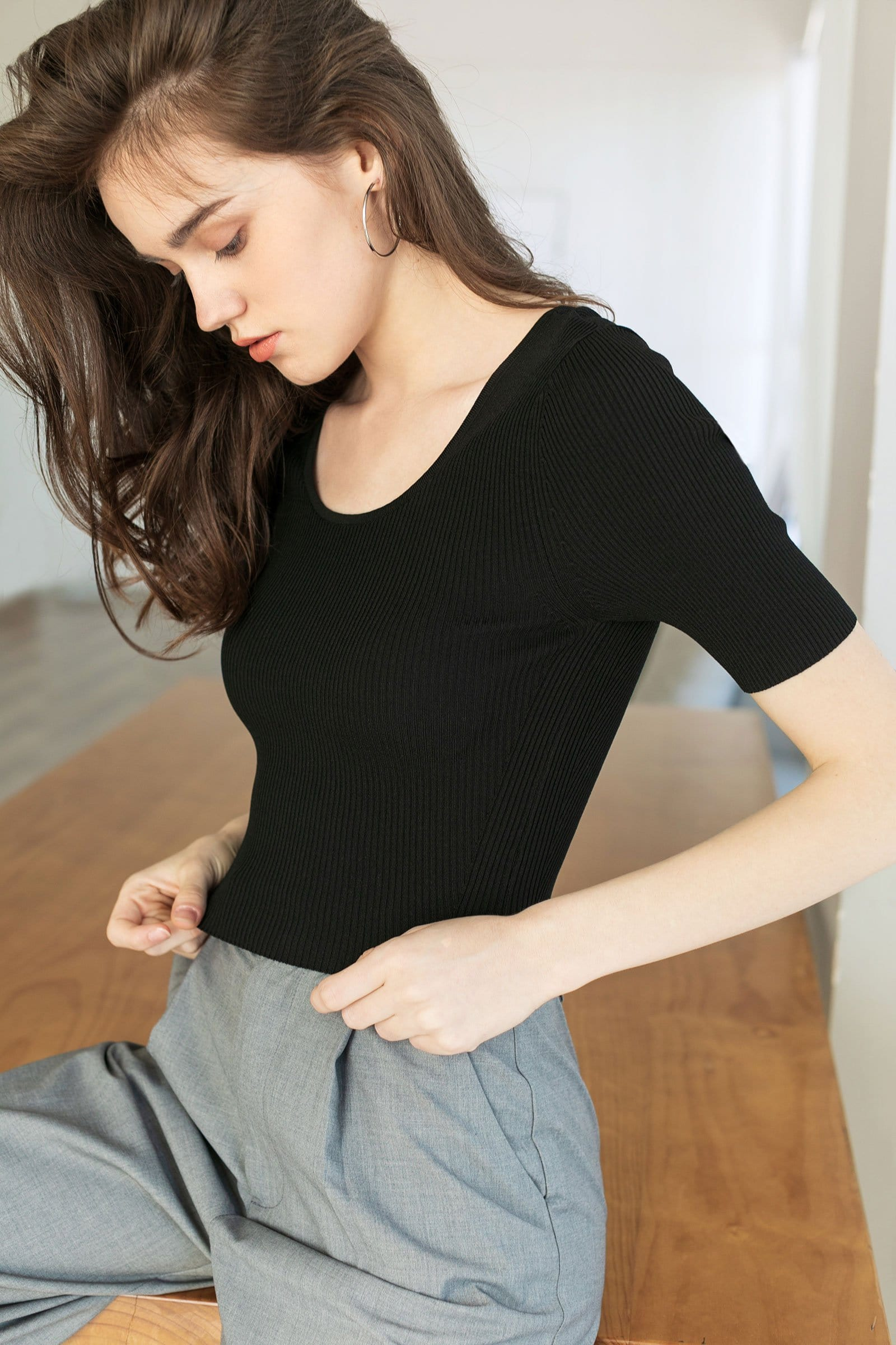 Essential Black Scoop Neck Tee