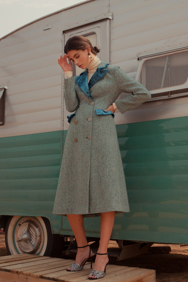 Annabelle Coachman Coat Green in Coats & Jackets by J.ING - an L.A based women's fashion line