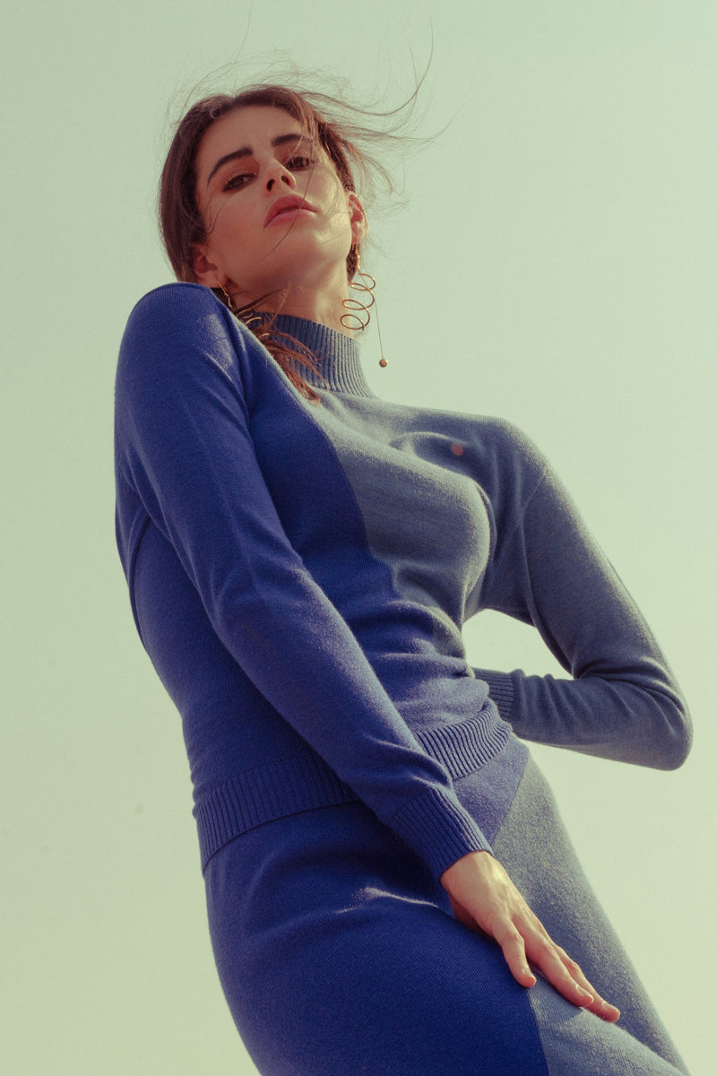 Belinda Blue Sweater in Knitwear by J.ING - an L.A based women's fashion line