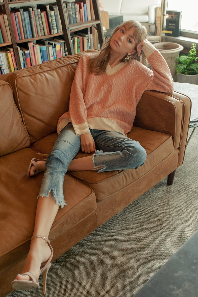 Jennifer Sweater Pink in Knitwear by J.ING - an L.A based women's fashion line