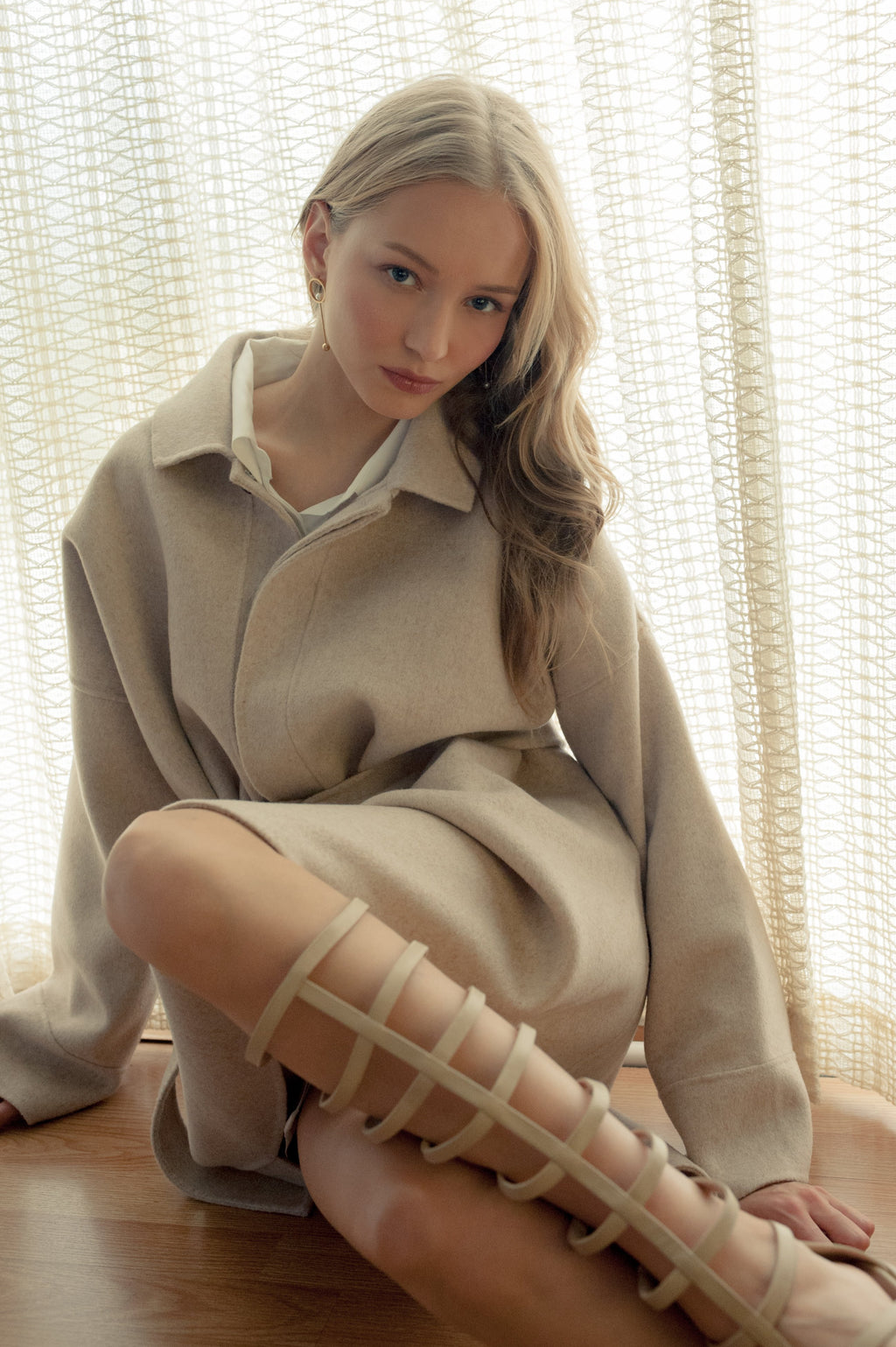 Maya Poncho Beige in Tops by J.ING - an L.A based women's fashion line