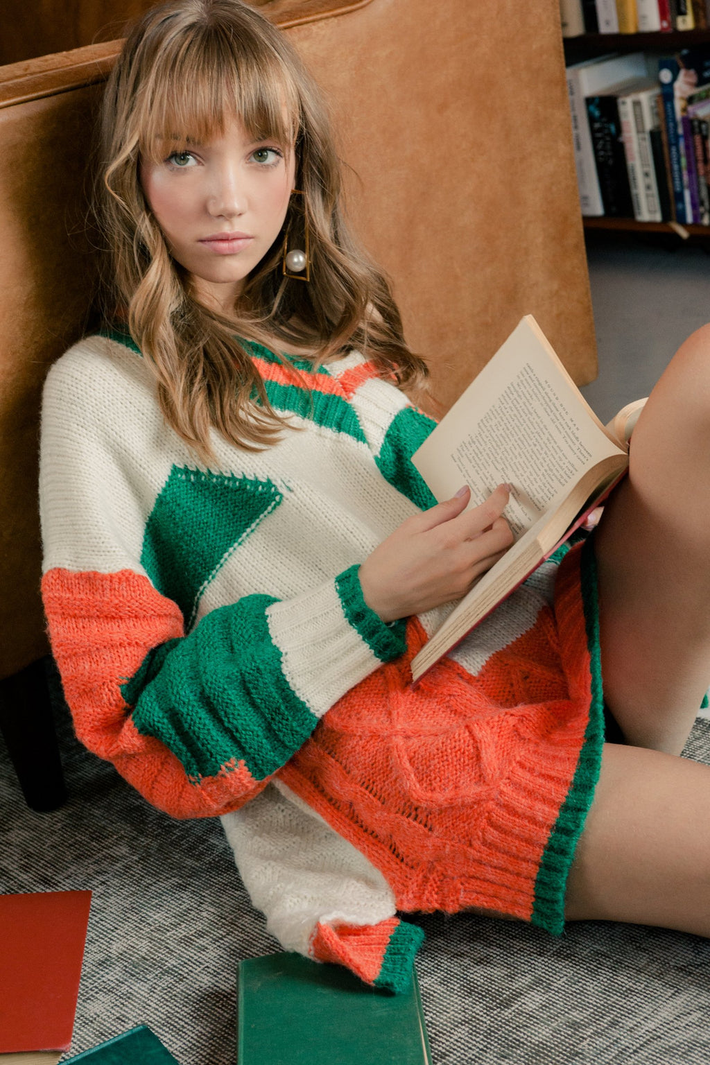 Miranda Sweater Orange in Knitwear by J.ING - an L.A based women's fashion line