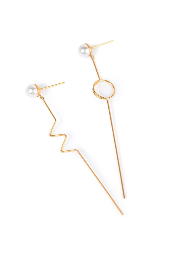 Gold colored Asymmetrical Drop Earrings with faux Pearls | J.ING Women's Accessories