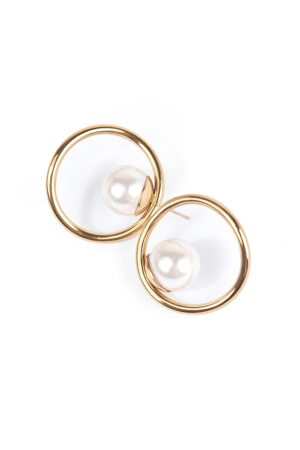 Golden circle earrings with faux pearl bead  | J.ING women's accessories
