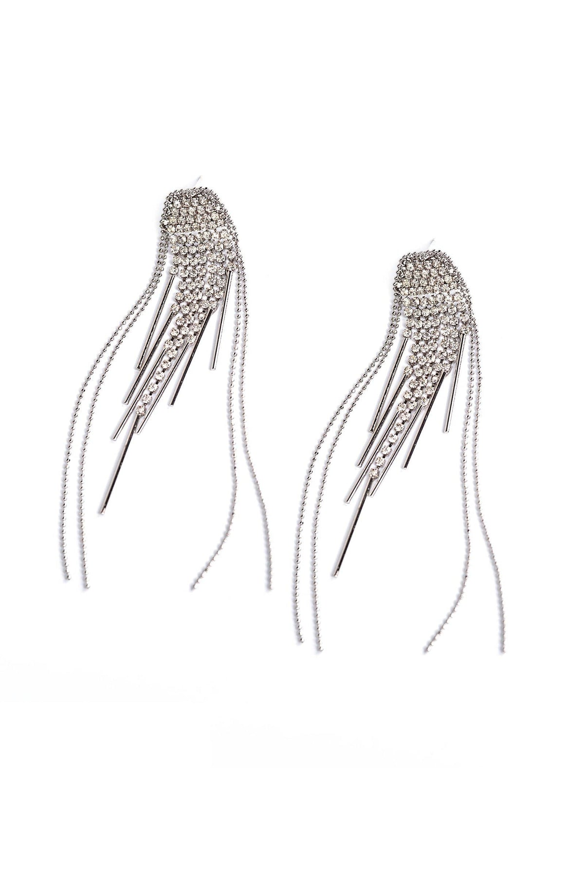 Silver earrings with hanging crystal threads | J.ING Women's Accessories