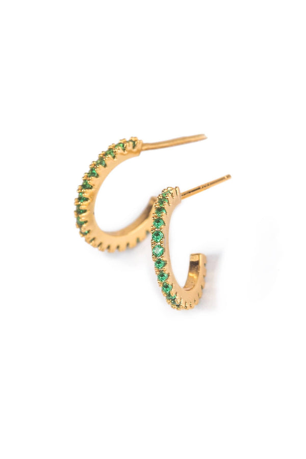 Gold colored earrings with emerald green zircon crystals | J.ING Women's accessories