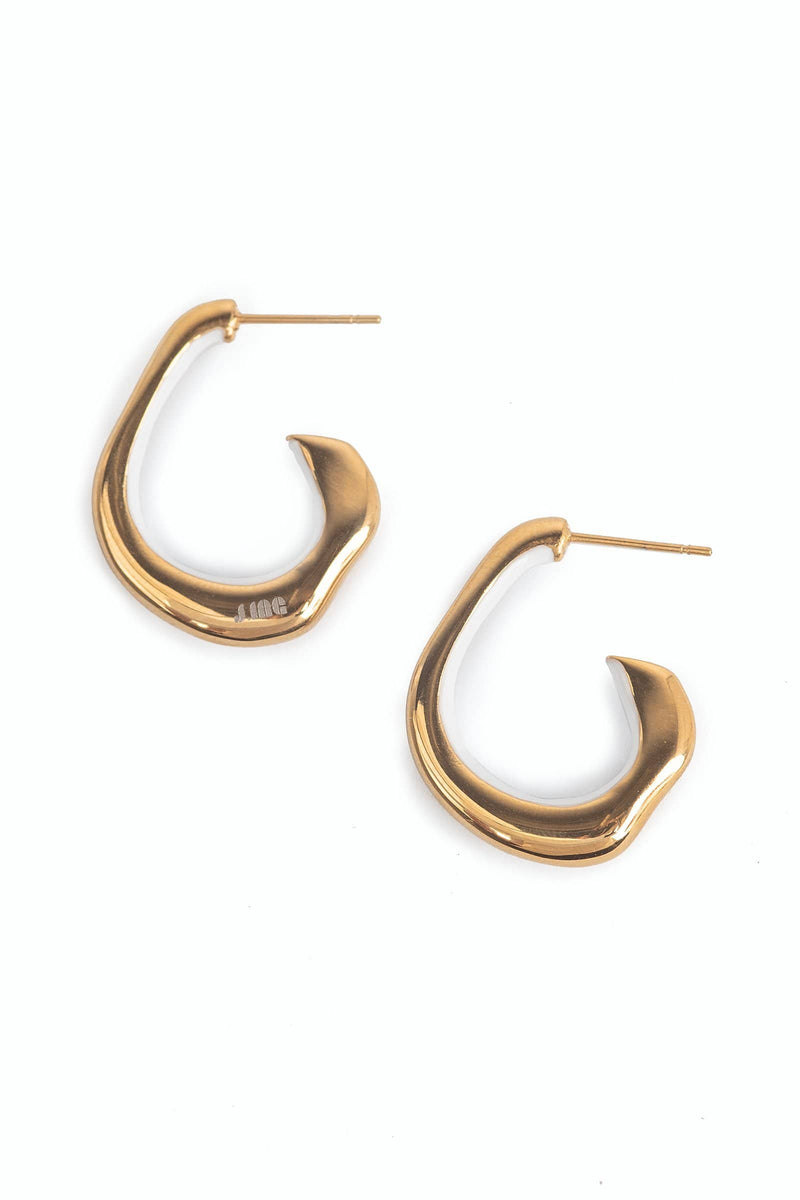 Bronze metal hoop earrings | J.ING women's accessories