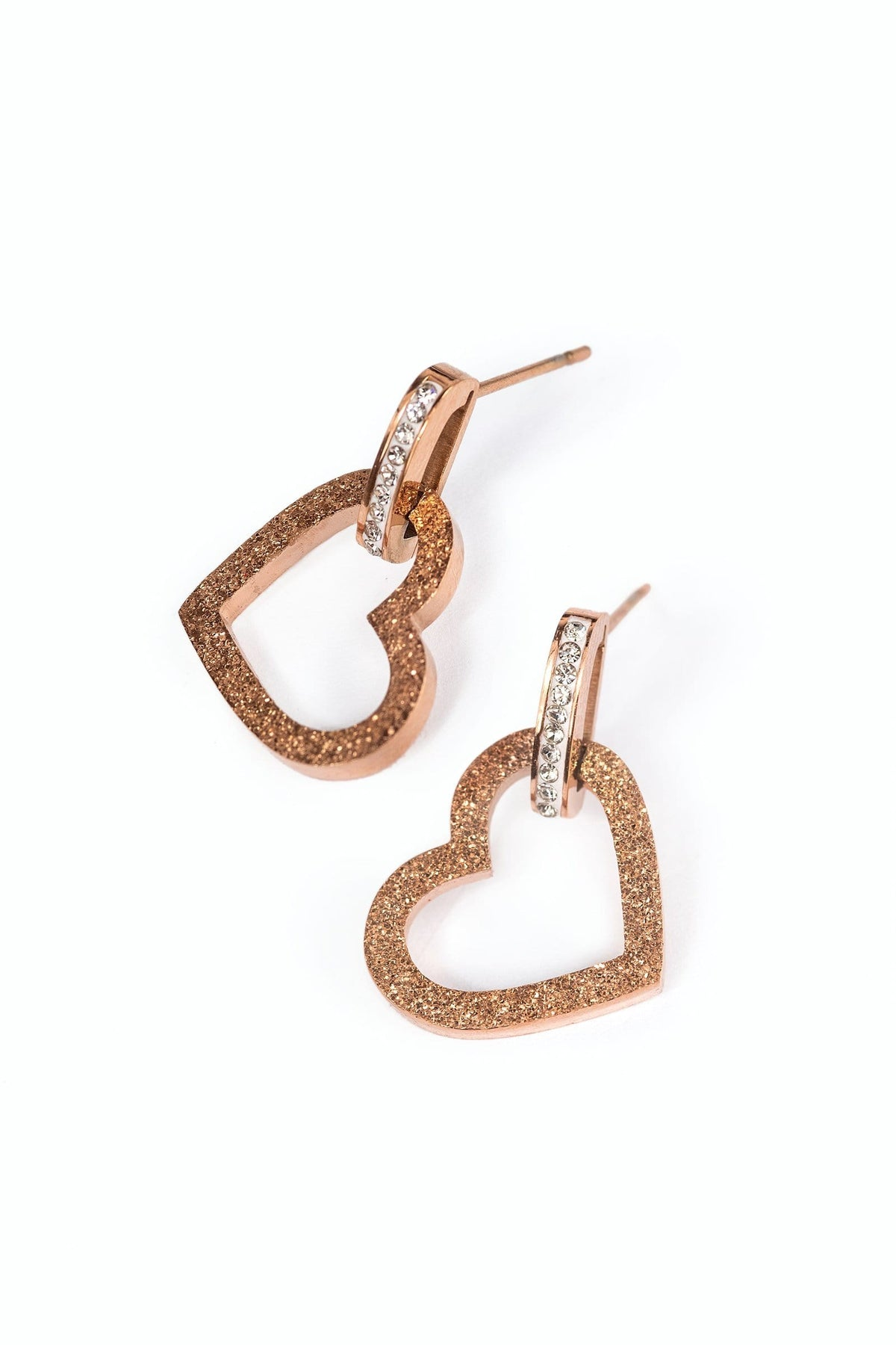 Rose gold colored heart shape earrings tiny with zircon crystals | J.ING women's accessories