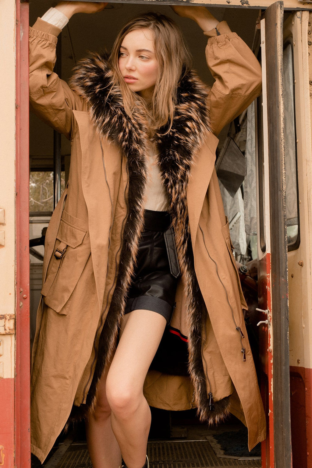 Payne Brown Fur Lined Parka for Women by J.ING