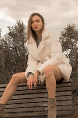 Sienna White Puffer Wrap Coat
