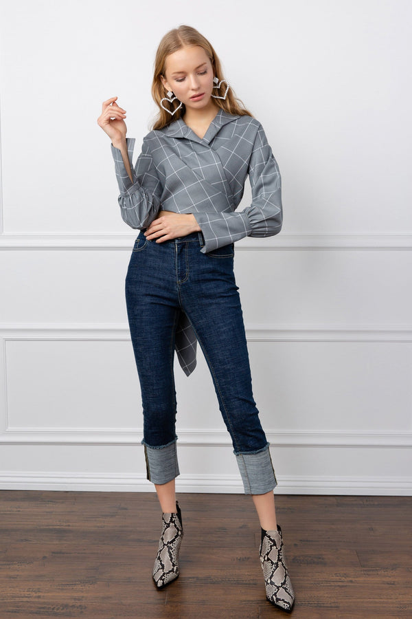 Grey Oversize Long Sleeve Wrap Top | J.ING Women's Apparel