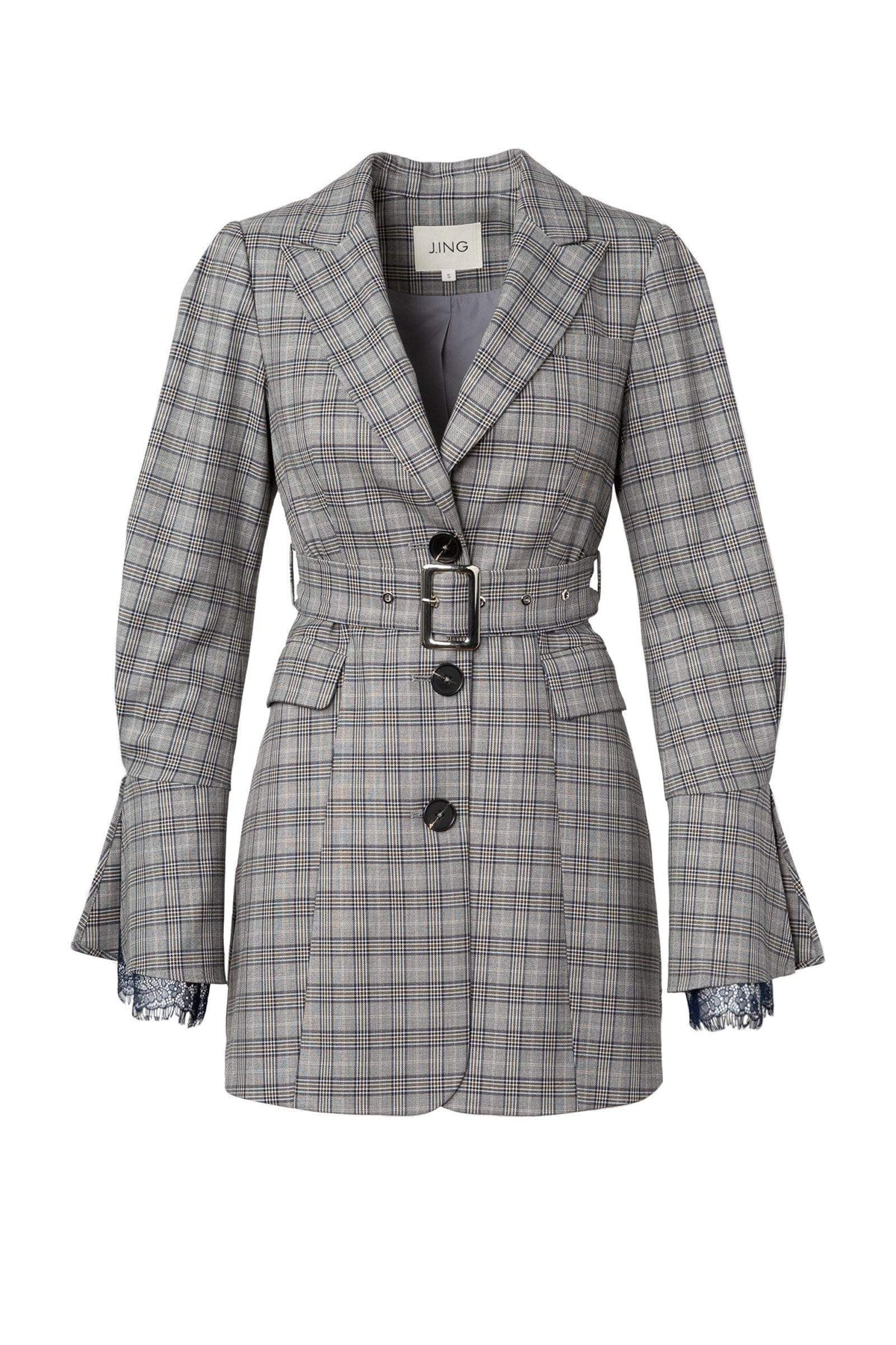 Grey Plaid Blazer Dress