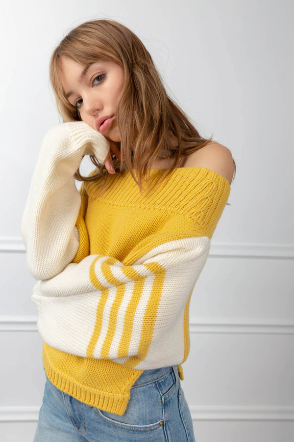 Marcella Sweater Yellow in Knitwear by J.ING - an L.A based women's fashion line