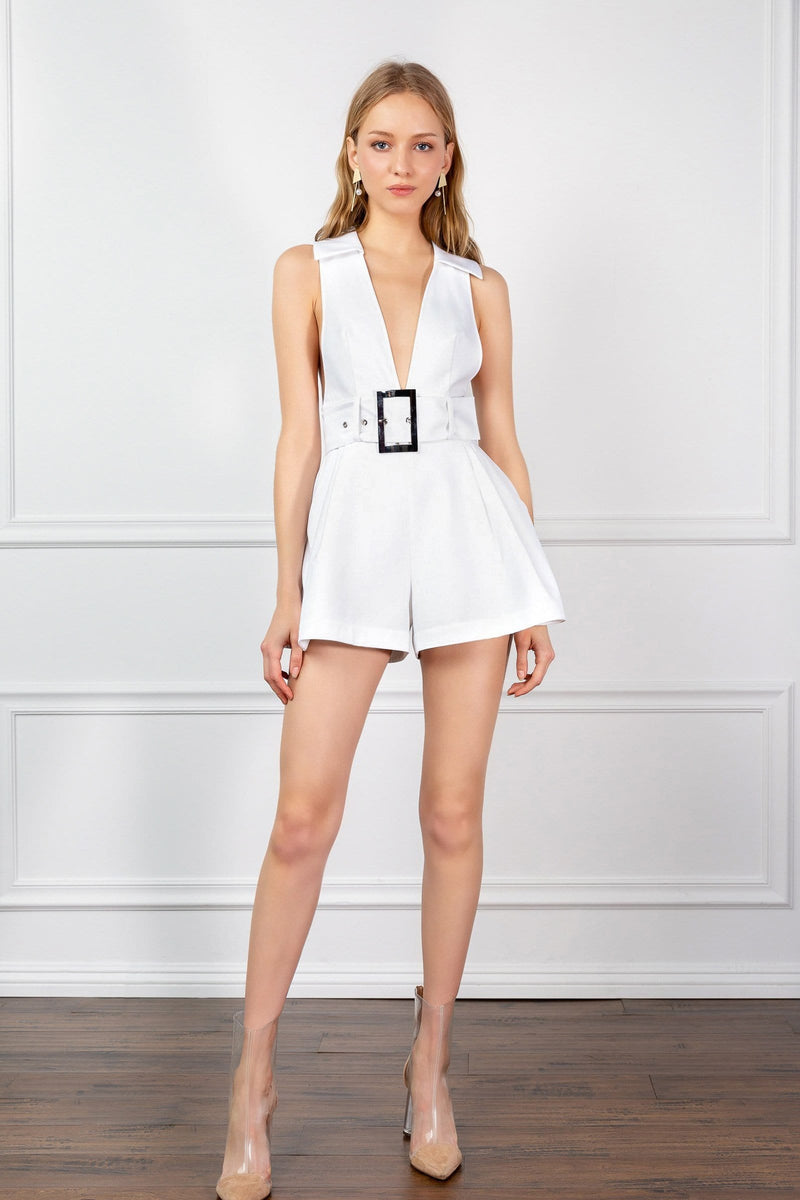 White deep v-neck romper with belted waist | J.ING women's jumpers