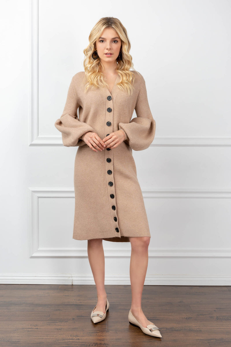 Mary Kate Dress Burly Wood in Knitwear by J.ING - an L.A based women's fashion line